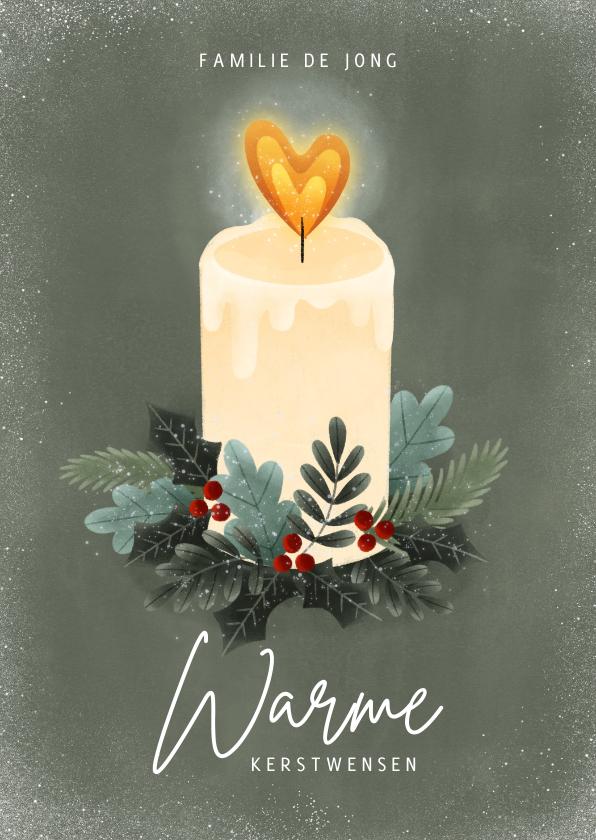 Kerstkaarten - Kerstkaart kaarsje, kersttakjes en hartjes warme kerstwensen