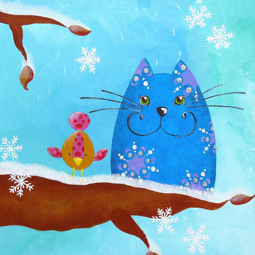 Kerstkaarten - Kerstkaart Kat en Vogeltje in de winter