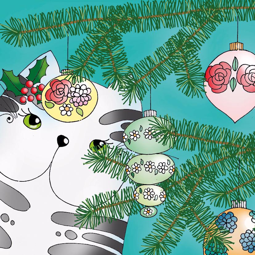 Kerstkaarten - Kerstkaart kat kerstboom - SK