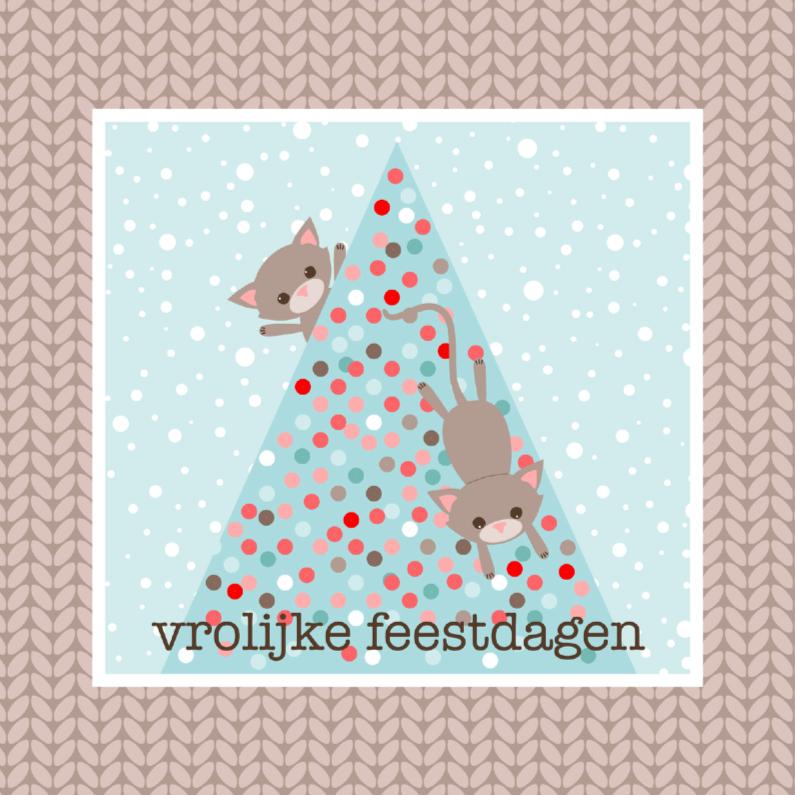 Kerstkaarten - Kerstkaart Katten in boom
