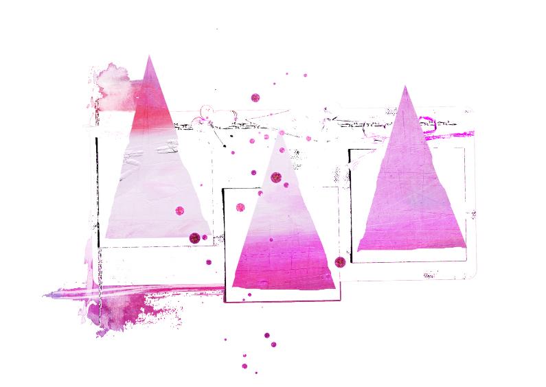 Kerstkaarten - Kerstkaart Kerst Abstract Roze