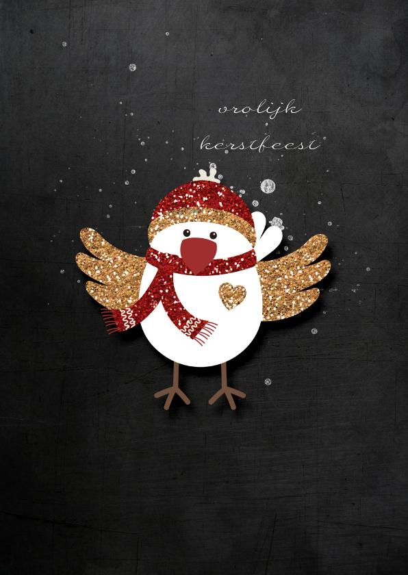 Kerstkaarten - Kerstkaart Kerst Vogeltje Goud