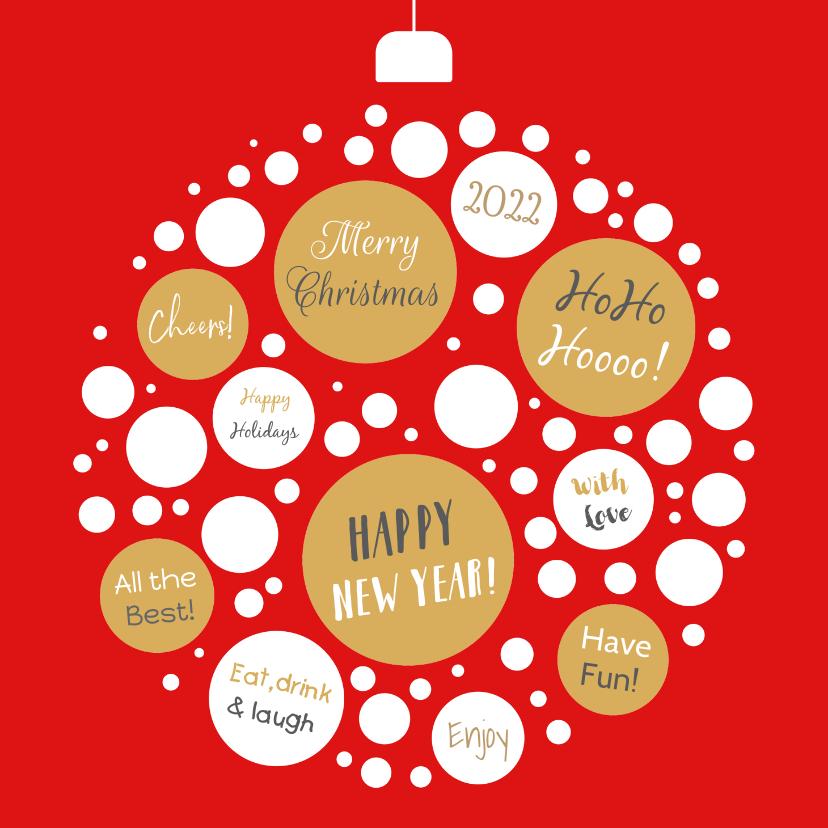 Kerstkaarten - Kerstkaart kerstbal cirkels en tekst