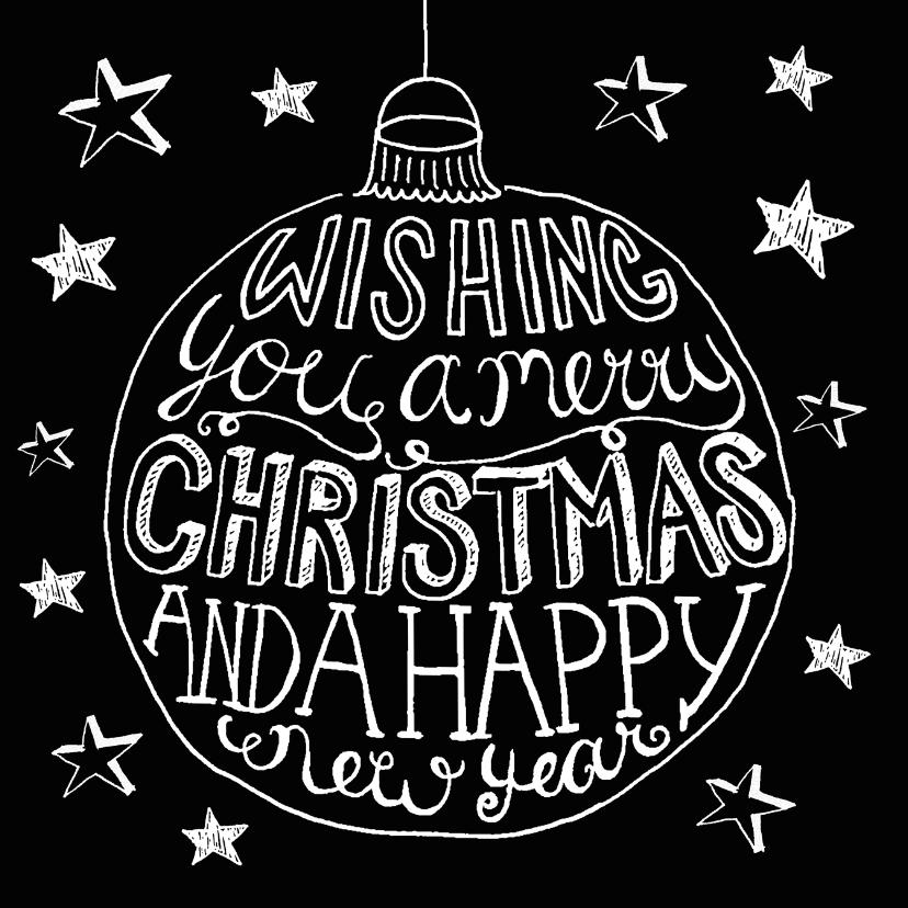 Kerstkaarten - Kerstkaart kerstbal zwart-wit