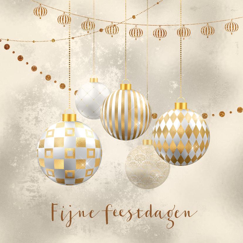 Kerstkaarten - Kerstkaart kerstballen goud met wit