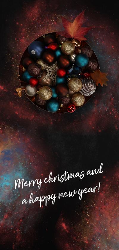 Kerstkaarten - Kerstkaart kerstballen in koperen schaal