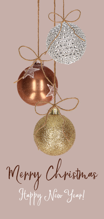Kerstkaarten - Kerstkaart kerstballen koper goud en zilver