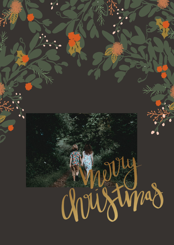 Kerstkaarten - Kerstkaart kerstblaadjes - HM