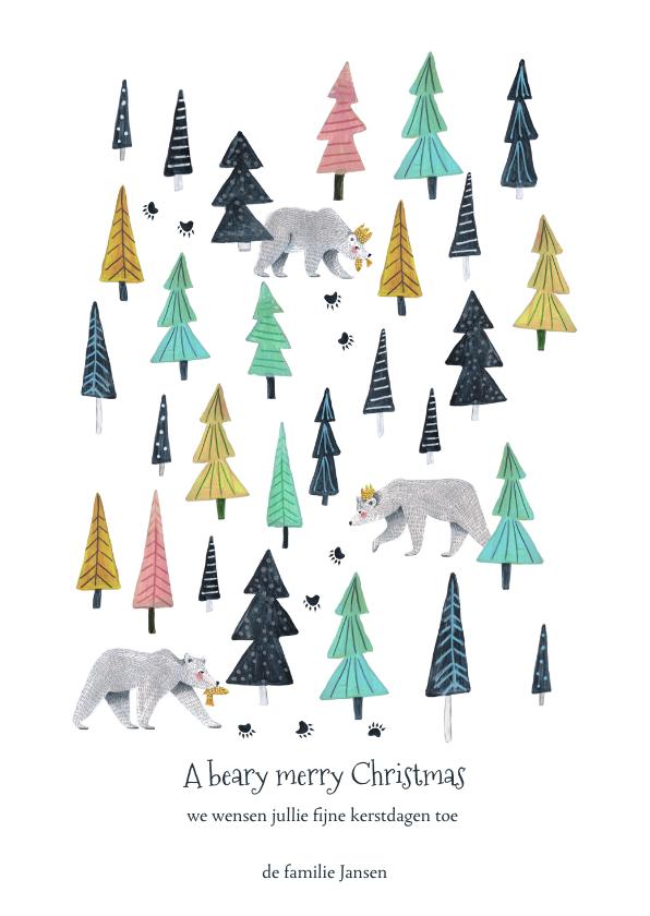 Kerstkaarten - Kerstkaart kerstbomen en beren