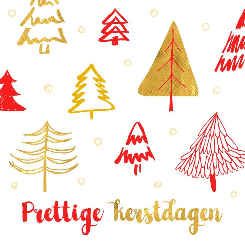 Kerstkaarten - Kerstkaart kerstbomen rood en goud
