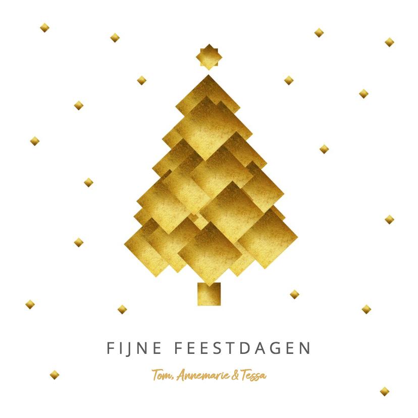 Kerstkaarten - Moderne kerstkaart kerstboom goud blokken