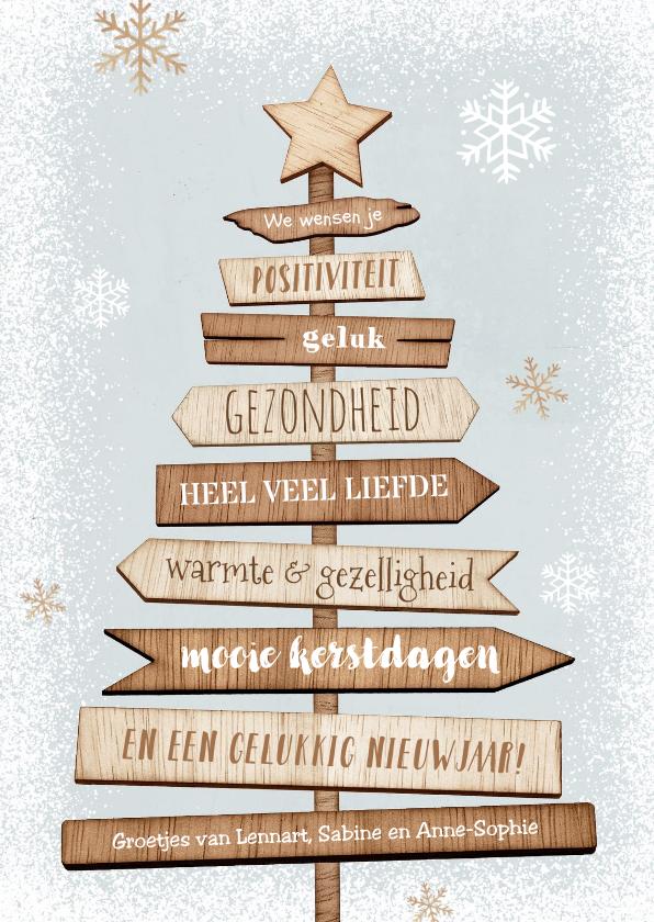 Kerstkaarten - Kerstkaart kerstboom hout wegwijzers ster sneeuw winter