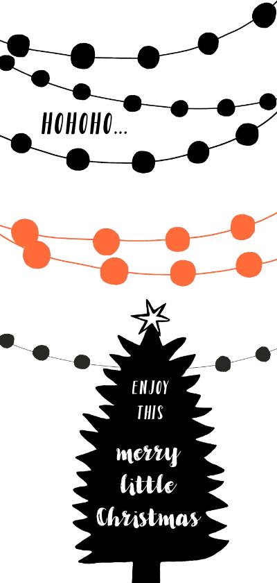 Kerstkaarten - Kerstkaart kerstboom krijtbord slingers