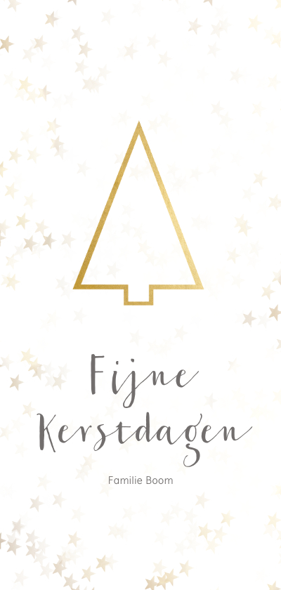 Kerstkaarten - Kerstkaart kerstboom langwerpig goud - BK