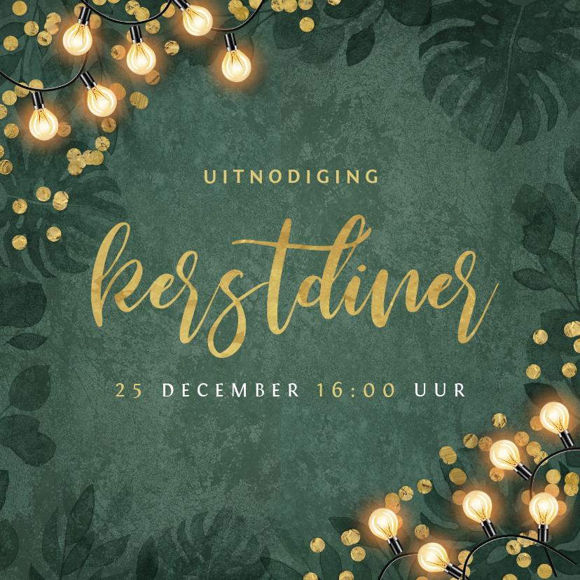 Kerstkaarten - Kerstkaart kerstdiner botanisch goud confetti uitnodiging