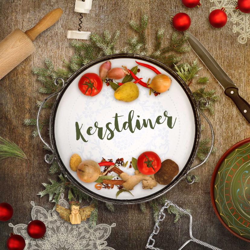 Kerstkaarten - Kerstkaart kerstdiner sfeer keuken