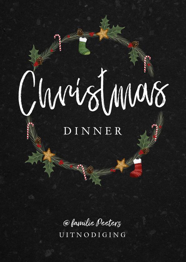 Kerstkaarten - Kerstkaart kerstdiner uitnodiging hip met illustraties