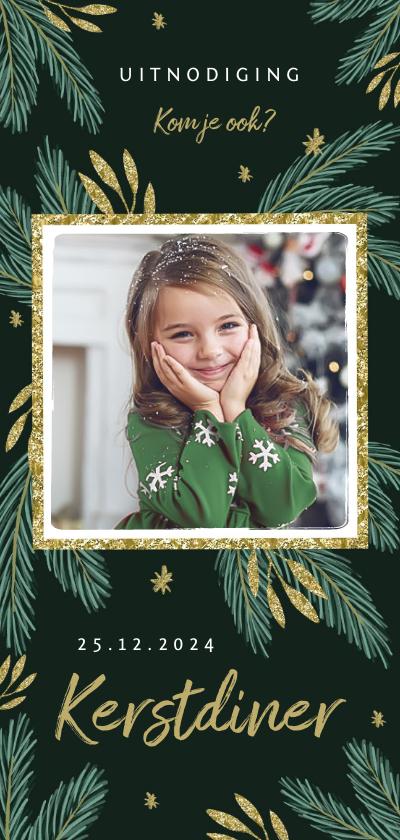 Kerstkaarten - Kerstkaart kerstdiner uitnodiging winter foto takjes goud