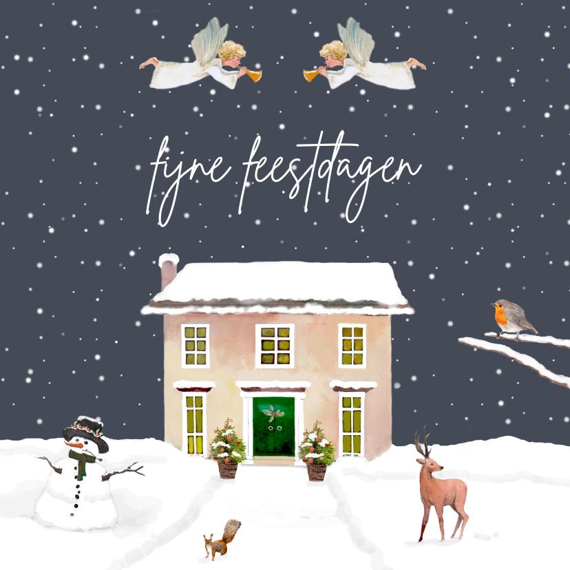 Kerstkaarten - Kerstkaart Kersthuis met engelen