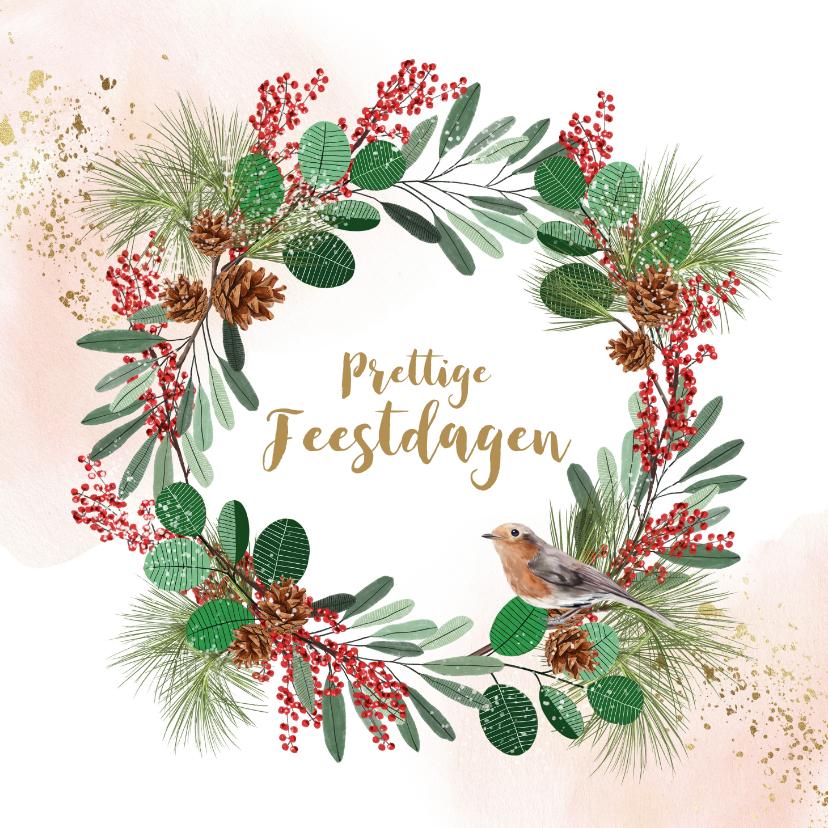 Kerstkaarten - Kerstkaart kerstkrans dennentak vogel watercolour goudlook