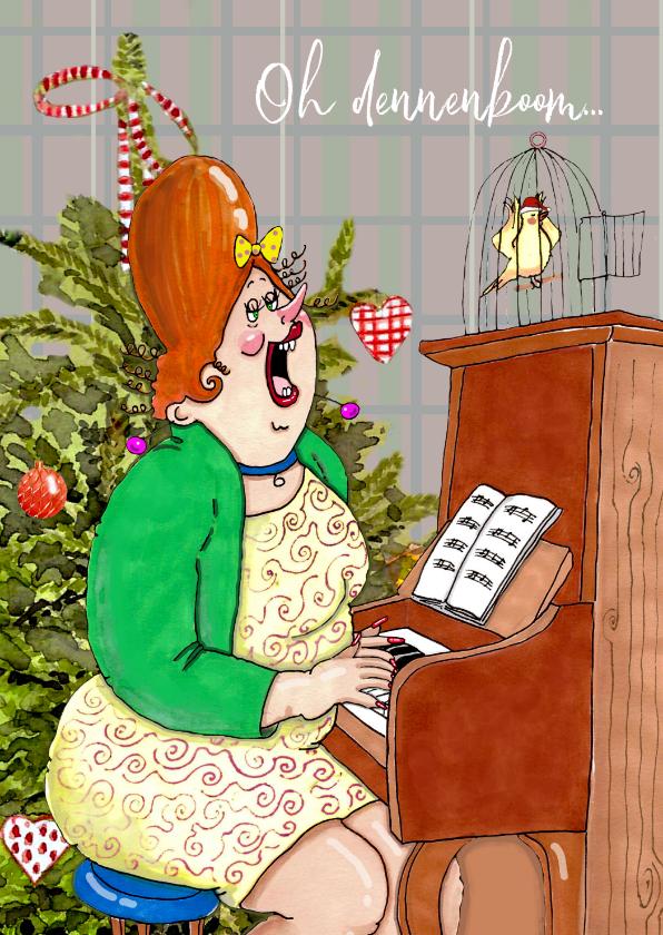 Kerstkaarten - Kerstkaart kerstlied op de piano