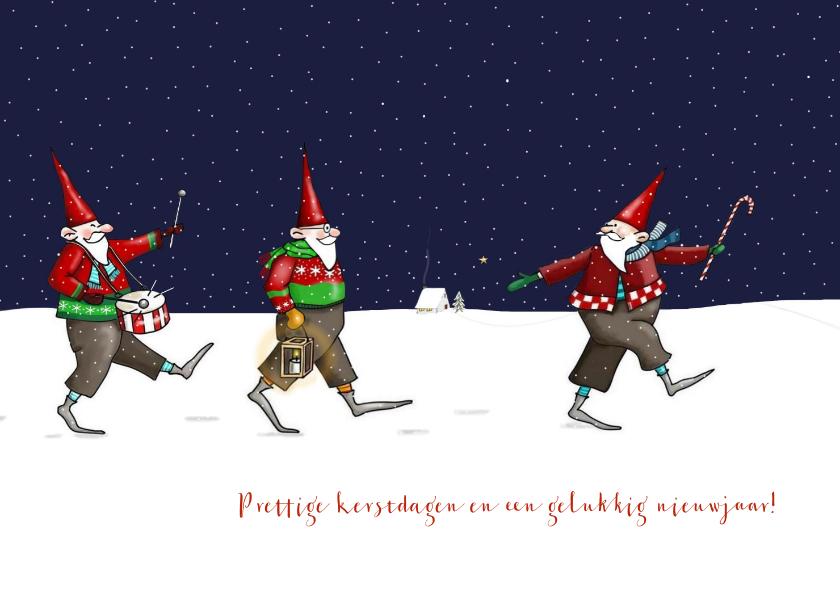 Kerstkaarten - Kerstkaart - kerstmannetjes in de sneeuw