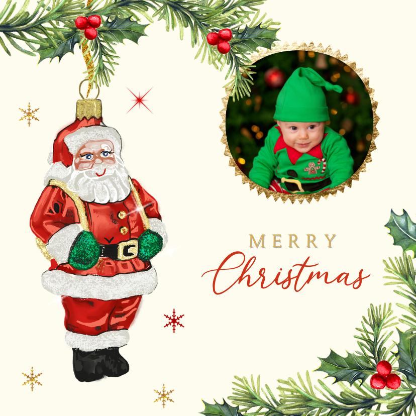 Kerstkaarten - Kerstkaart kerstmanornament takjes