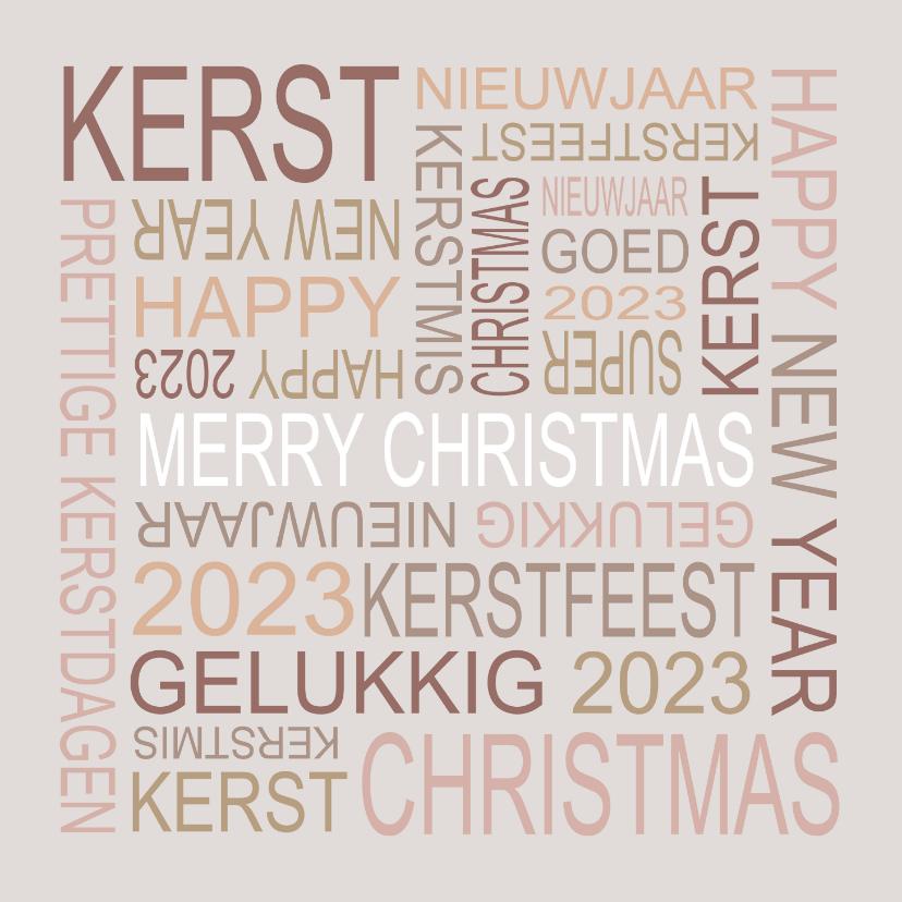 Kerstkaarten - Kerstkaart kerstwensen typografie taupe