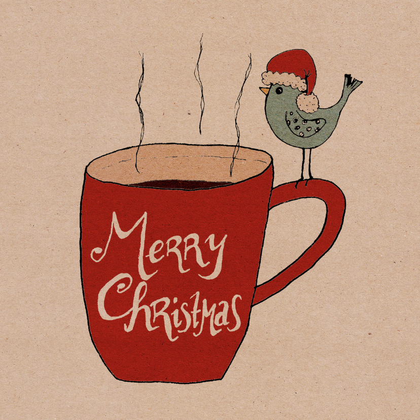 Kerstkaarten - Kerstkaart koffiemok vogel-HR