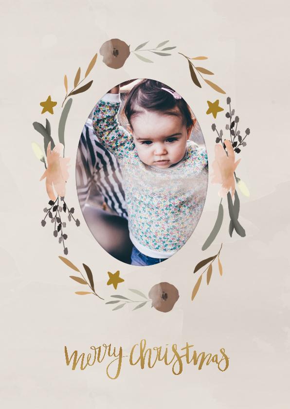 Kerstkaarten - Kerstkaart krans bloemen - HM