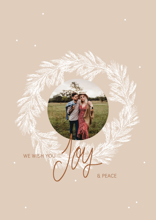 Kerstkaarten - Kerstkaart krans foto Joy