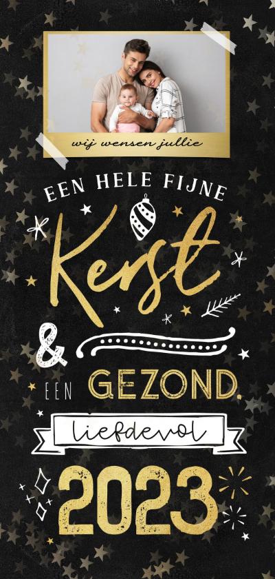 Kerstkaarten - Kerstkaart krijtbord goud typografie winter sterren goud