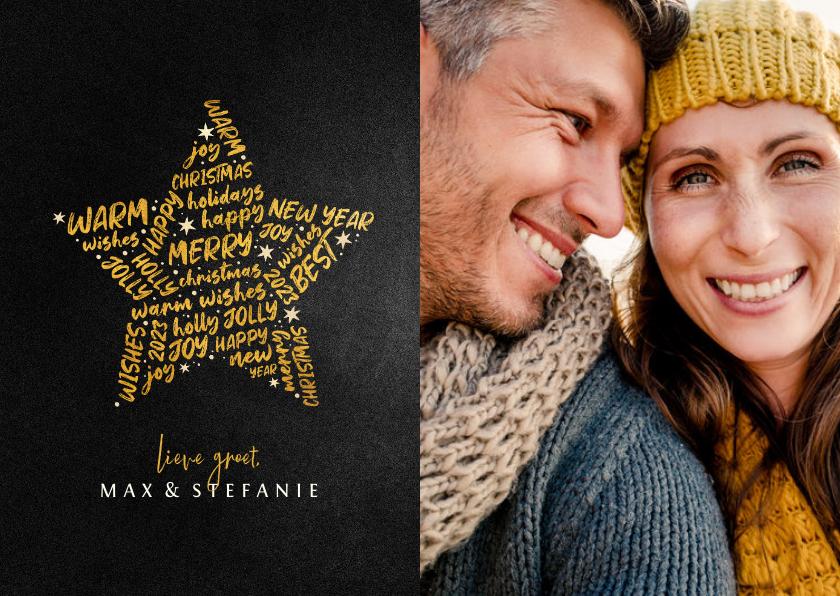 Kerstkaarten - Kerstkaart krijtbord goudlook ster met woorden en foto