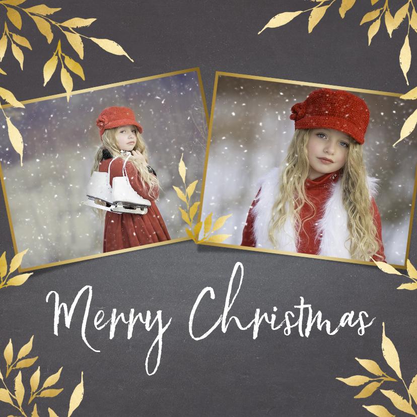 Kerstkaarten - Kerstkaart krijtbord vierkant voor 2 foto's