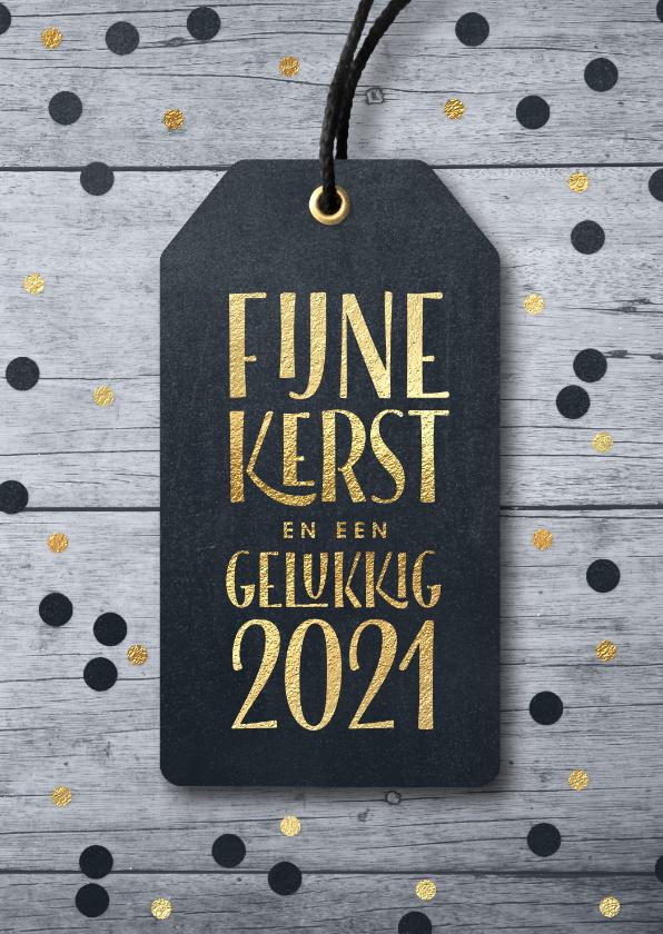 Kerstkaarten - Kerstkaart label confetti op hout