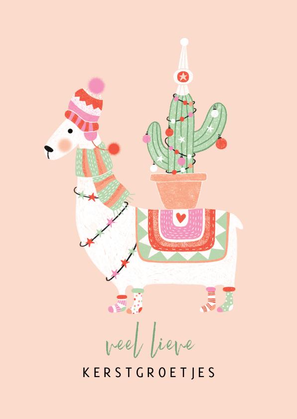 Kerstkaarten - Kerstkaart lama met cactus