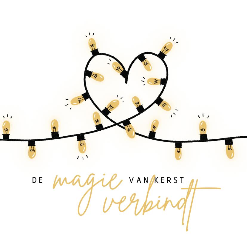 Kerstkaarten - Kerstkaart lampjes hart