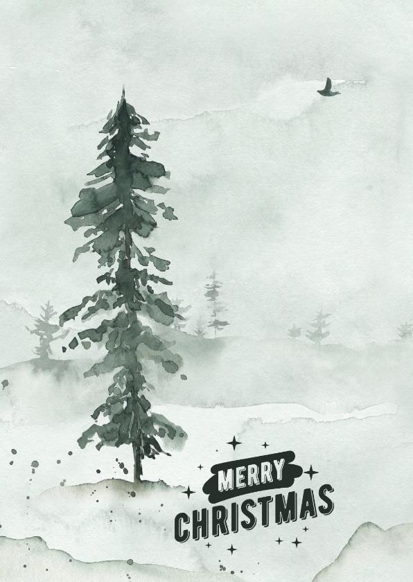 Kerstkaarten - Kerstkaart landschap aquarel