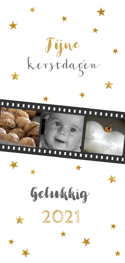 Kerstkaarten - Kerstkaart langwerpig fotostrip