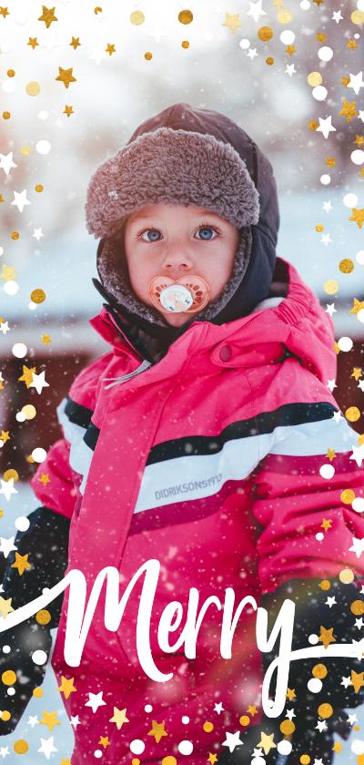 Kerstkaarten - Kerstkaart langwerpig gouden sterren met confetti en foto