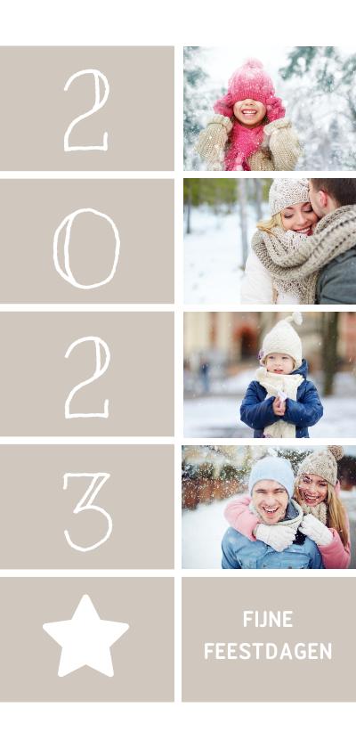 Kerstkaarten - Kerstkaart langwerpig met foto's, ster en jaartal 2022