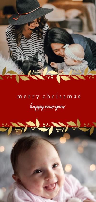 Kerstkaarten - Kerstkaart langwerpig met gouden bloemenkader en foto's