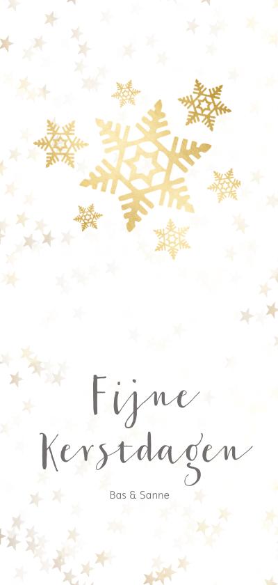 Kerstkaarten - Kerstkaart langwerpig sneeuwvlok - Een gouden kerst