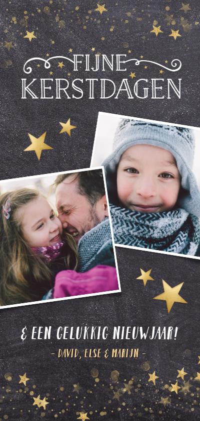 Kerstkaarten - Kerstkaart langwerpig stijlvol krijtbord met gouden sterren