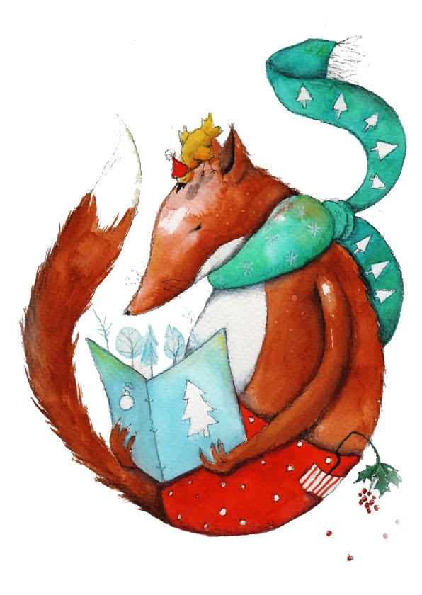Kerstkaarten - Kerstkaart lezen met vos