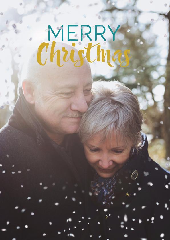 Kerstkaarten - Kerstkaart liefdevol met sneeuwvlokjes effect