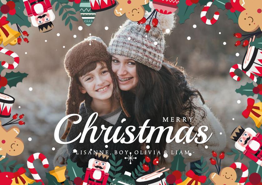 Kerstkaarten - Kerstkaart liggend met eigen foto en kerstillustraties kader
