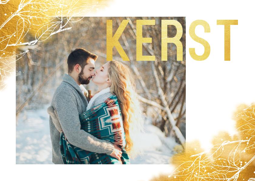 Kerstkaarten - Kerstkaart liggend met waterverf, foto en gouden letters