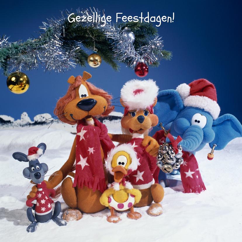 Kerstkaarten - Kerstkaart Loeki de Leeuw viert Kerst