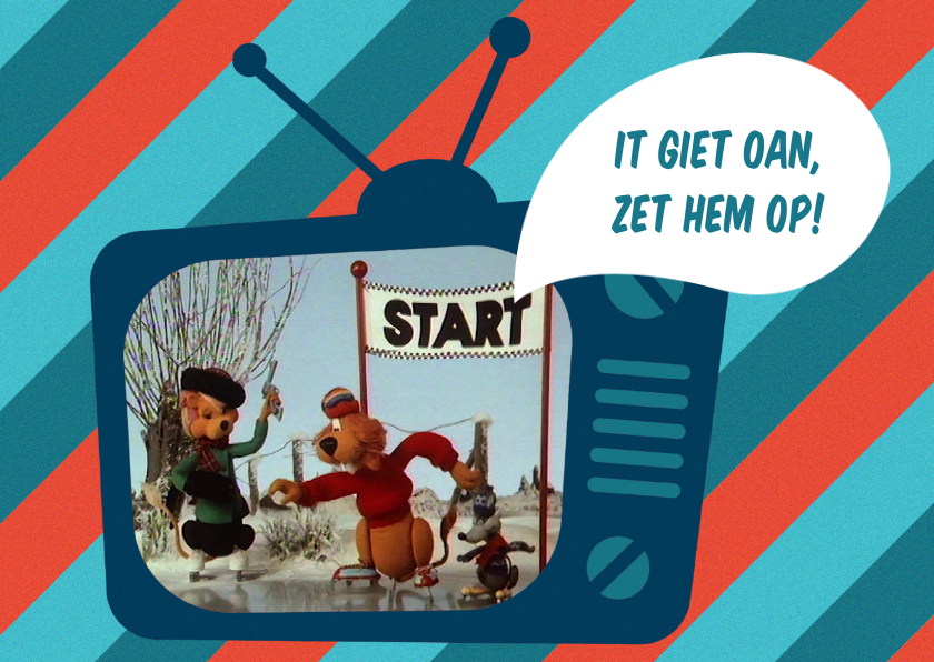 Kerstkaarten - Kerstkaart Loeki tv schaats